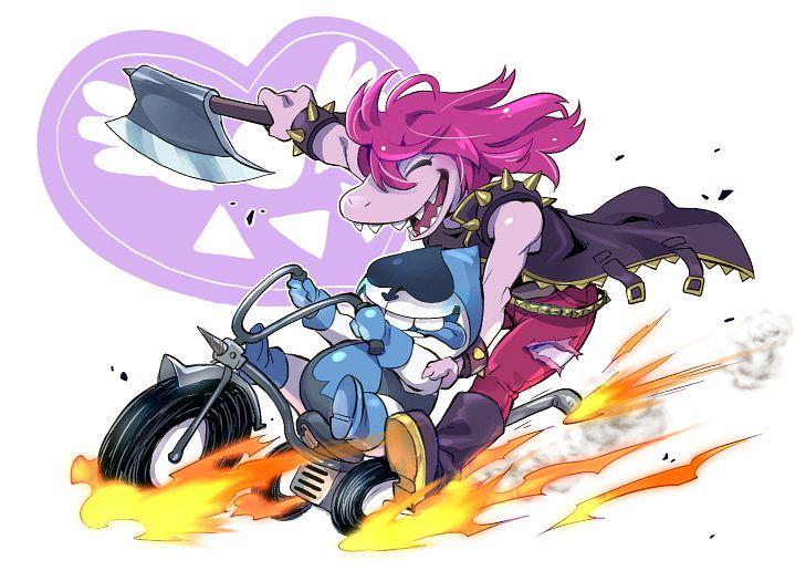 Tags: Anime, Pixiv Id 20747286, Deltarune, Lancer (Deltarune), Susie (Deltarune), Pink Skin, Fanart, Fanart From Pixiv, Pixiv