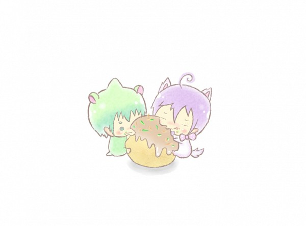 Tags: Anime, Pixiv Id 1208361, Ao no Exorcist, Amaimon (Hamster), Amaimon, Mephisto Pheles (Dog), Mephisto Pheles, Takoyaki, Hamster, Demon Brothers