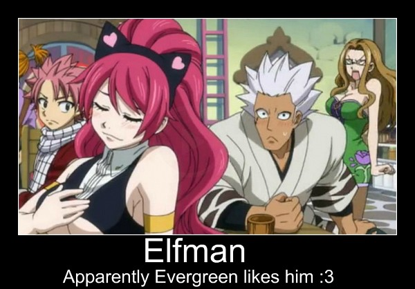 Tags: Anime, FAIRY TAIL, Sherry Blendy, Evergreen, Elfman Strauss, Natsu Dragneel, Screenshot, Demotivational Poster