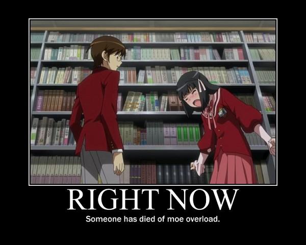 Tags: Anime, Kami nomi zo Shiru Sekai, Shiomiya Shiori, Katsuragi Keima, Demotivational Poster, Right Now, Screenshot