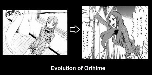 Tags: Anime, Kubo Tite, BLEACH, Inoue Orihime, Art Evolution, Comic, Facebook Cover, BLEACH: After Timeskip, Collage, Scan, Demotivational Poster