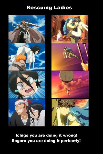 Tags: Anime, GONZO (Studio), Full Metal Panic!, BLEACH, Kuchiki Rukia, Abarai Renji, Sagara Sousuke, Kurosaki Ichigo, Chidori Kaname, Mobile Wallpaper, Screenshot, Demotivational Poster, Gotei 13