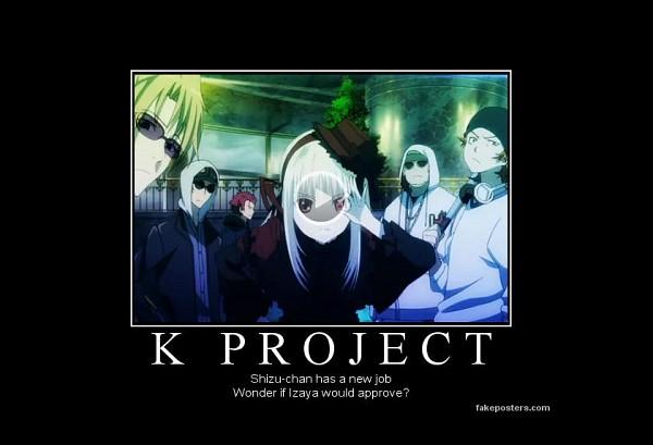 Tags: Anime, K Project, Suoh Mikoto, Kushina Anna, Yata Misaki, Kusanagi Izumo, Demotivational Poster, Screenshot