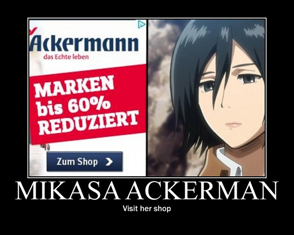 Tags: Anime, Attack on Titan, Mikasa Ackerman, German Text, Demotivational Poster