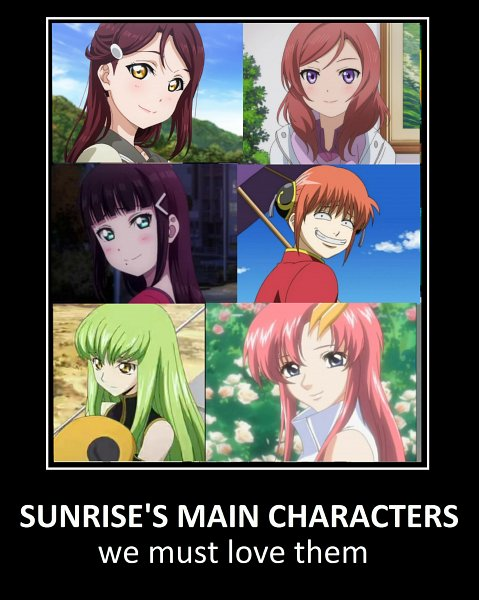 Tags: Anime, Sunrise (Studio), CODE GEASS: Hangyaku no Lelouch, Mobile Suit Gundam SEED, Mobile Suit Gundam SEED Destiny, Love Live!, Love Live! Sunshine!!, Gintama, Kagura (Gin Tama), Kurosawa Dia, Lacus Clyne, Sakurauchi Riko, C.C.