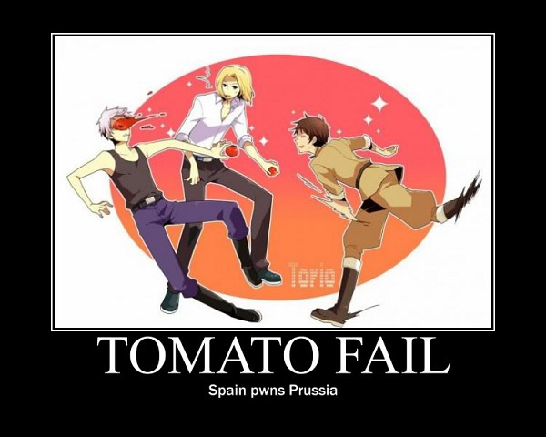 Tags: Anime, Axis Powers: Hetalia, Spain, Prussia, France, Thrown Food, Demotivational Poster