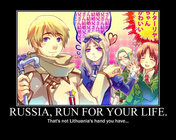 Tags: Anime, Axis Powers: Hetalia, Poland, Lithuania, Russia, Belarus, Artist Request, Demotivational Poster, deviantART