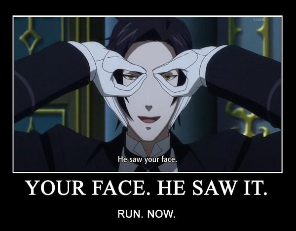 Tags: Anime, SQUARE ENIX, Kuroshitsuji, Claude Faustus, Glasses Gesture, Screenshot, Demotivational Poster