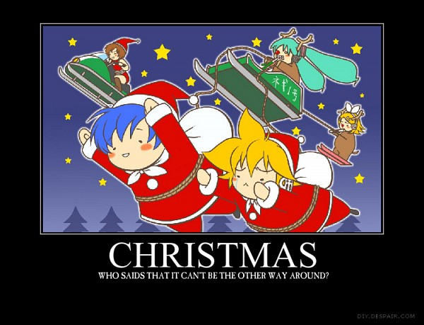 Tags: Anime, VOCALOID, KAITO, Kagamine Len, Kagamine Rin, MEIKO (VOCALOID), Hatsune Miku, Sled, Snowmobile, Reindeer Costume, Artist Request, Demotivational Poster