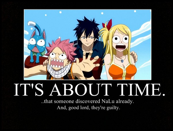 Tags: Anime, FAIRY TAIL, Gray Fullbuster, Natsu Dragneel, Happy (FAIRY TAIL), Lucy Heartfilia, Demotivational Poster, Screenshot