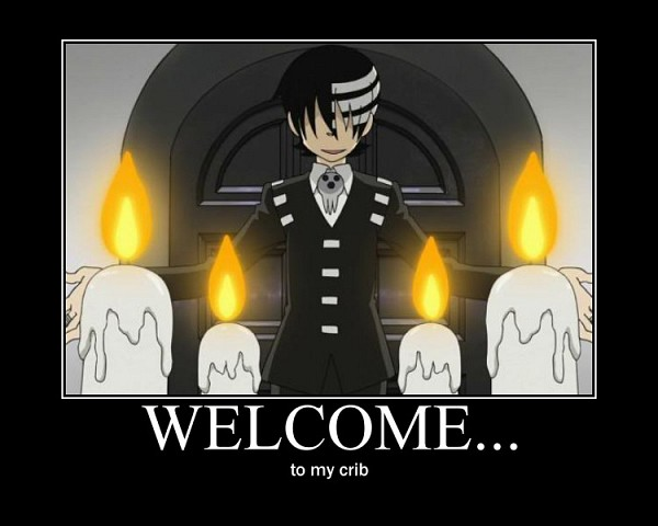 Tags: Anime, SQUARE ENIX, SOUL EATER, Death the Kid, Text: Welcome, Demotivational Poster