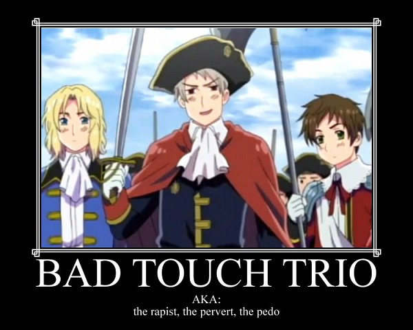 Tags: Anime, Axis Powers: Hetalia, France, Spain, Prussia, Demotivational Poster