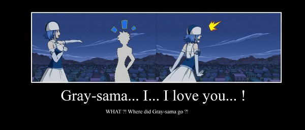 Tags: Anime, FAIRY TAIL, Juvia Loxar, Gray Fullbuster, Disappearing, Magnolia, Demotivational Poster, Facebook Cover
