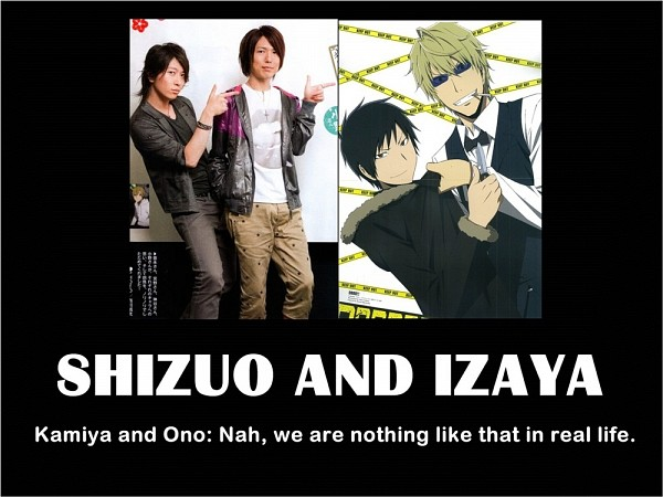 Tags: Anime, DURARARA!!, Orihara Izaya, Heiwajima Shizuo, Demotivational Poster