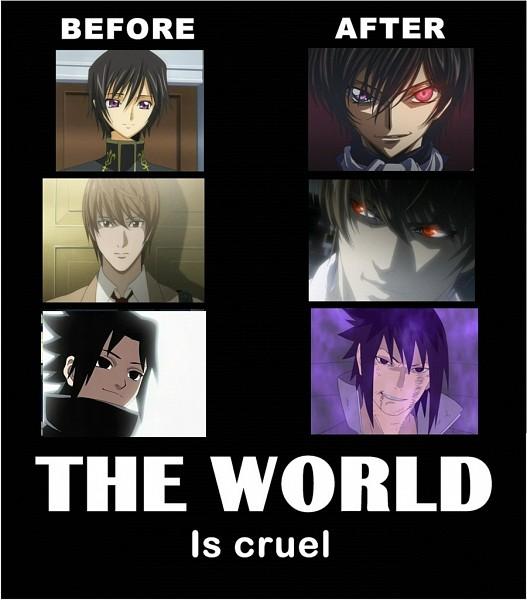 Tags: Anime, DEATH NOTE, CODE GEASS: Hangyaku no Lelouch, NARUTO, Uchiha Sasuke, Lelouch Lamperouge, Yagami Raito, Demotivational Poster