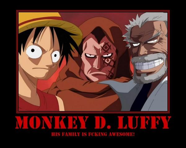 Tags: Anime, ONE PIECE, Monkey D. Garp, Monkey D. Luffy, Monkey D. Dragon, Demotivational Poster, Screenshot, Straw Hat Pirates