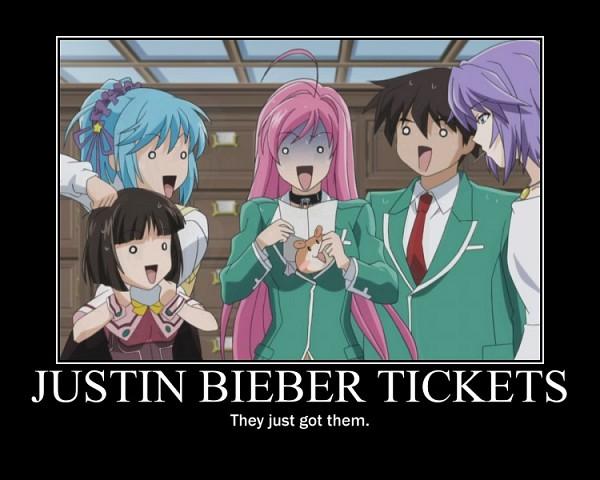 Tags: Anime, Rosario + Vampire, Kurono Kurumu, Aono Tsukune, Akashiya Moka, Shirayuki Mizore, Sendou Yukari, Justin Bieber (Parody), Demotivational Poster, Studio Request