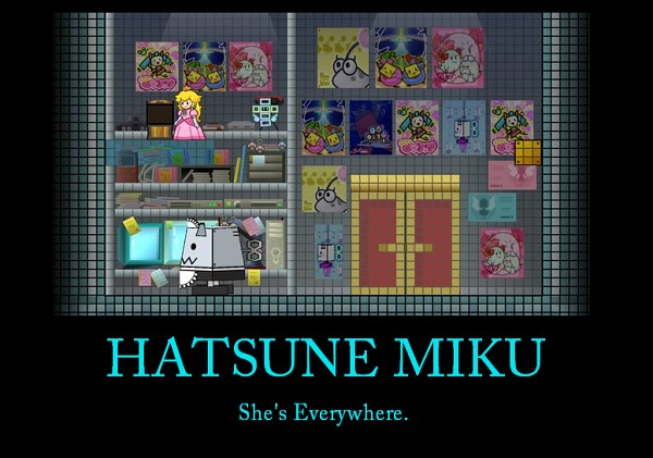 Tags: Anime, Super Mario Bros., VOCALOID, Hatsune Miku, Princess Peach, Demotivational Poster, Screenshot