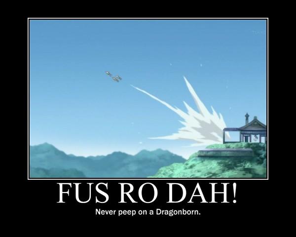 Tags: Anime, Mayoi Neko Overrun!, The Elder Scrolls, Fus Ro Dah, Demotivational Poster, Comic