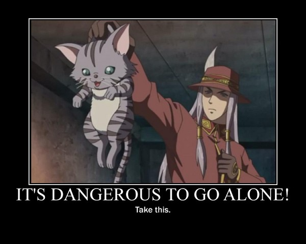 Tags: Anime, History's Strongest Disciple Kenichi, Hat Feather, Siegfried (History'S Strongest Disciple Kenichi), It's Dangerous To Go Alone! Take This, Demotivational Poster, Screenshot