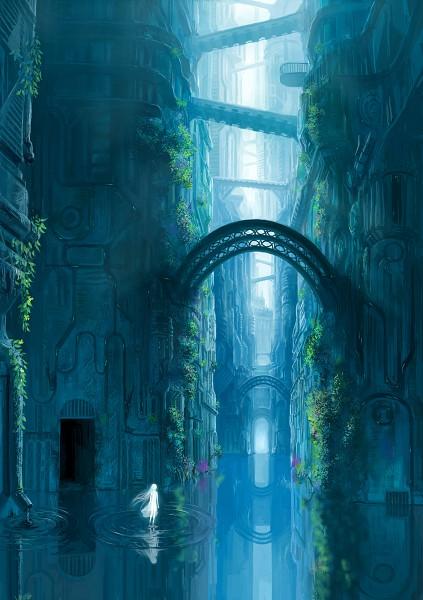 Tags: Anime, Denki, Q Pixiv: Free, Lonely, Aqua, Mobile Wallpaper, Original, Quarterly Pixiv, Pixiv