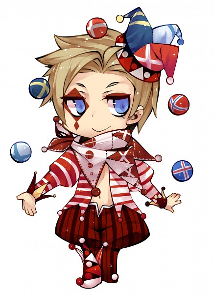 Tags: Anime, Kurogomu, Axis Powers: Hetalia, Denmark, Juggling, Jester Hat, Clown, Fanart, Mobile Wallpaper, Pixiv, Nordic Countries