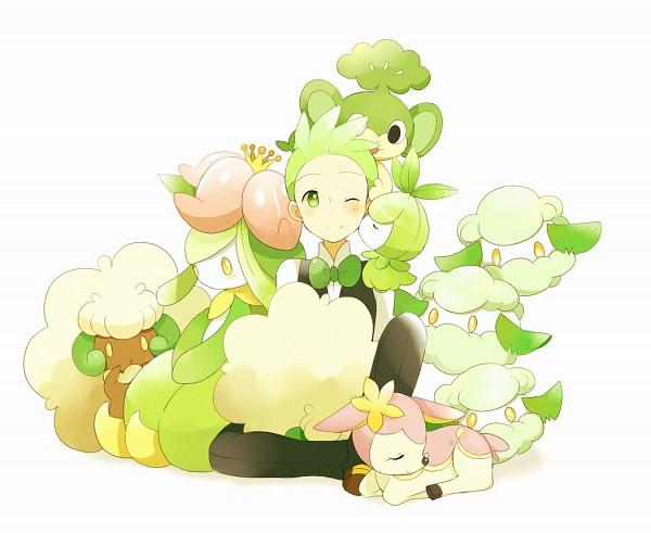 Tags: Anime, May (Pixiv Id 233774), Pokémon, Cottonee, Deerling, Whimsicott, Petilil, Pansage, Lilligant, Dento (Pokémon), Deer, Cilan