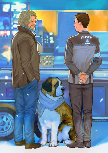 Tags: Anime, Pencilcrown, Detroit: Become Human, Hank Anderson, Connor (Detroit: Become Human), Pixiv, Fanart, Fanart From Pixiv