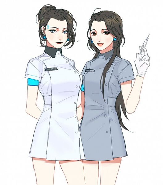 Tags: Anime, Mixed Blessing, Detroit: Become Human, Connor (RK900), Connor (Detroit: Become Human), Gray Dress, Pixiv, Fanart, Fanart From Pixiv