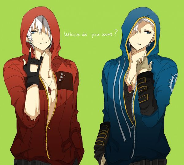 Tags: Anime, Pixiv Id 4041953, Devil May Cry, Dante (Devil May Cry), Vergil (Devil May Cry), Blue Hoodie, Chest, Side by Side, I Love You Gesture, Red Hoodie, PNG Conversion, Fanart, Fanart From Pixiv