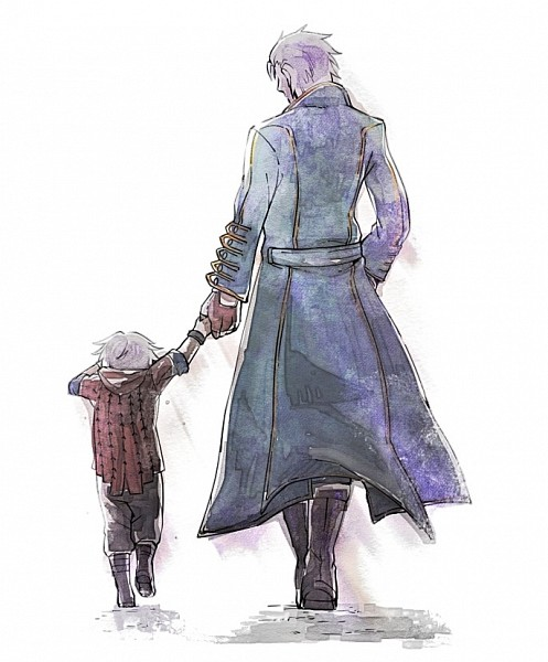 Tags: Anime, Mackerel (Artist), Devil May Cry, Nero (Devil May Cry), Vergil (Devil May Cry), Fanart, Pixiv