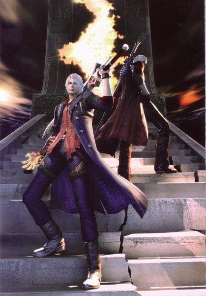 Tags: Anime, Capcom, Devil May Cry 4, Devil May Cry, Dante, Nero (Devil May Cry), Official Art, Scan, Mobile Wallpaper