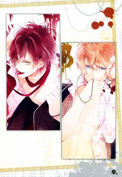 Tags: Anime, Satoi, IDEA FACTORY, Diabolik Lovers Official Visual Fanbook, Diabolik Lovers ~Haunted dark bridal~, Sakamaki Shuu, Sakamaki Ayato, Mobile Wallpaper, Scan, Official Art, B's LOG, Magazine (Source)