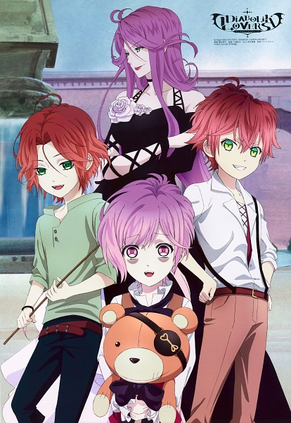 Tags: Anime, ZEXCS, Diabolik Lovers ~Haunted dark bridal~, Sakamaki Laito, Sakamaki Kanato, Sakamaki Ayato, Cordelia (Diabolik Lovers), Official Art, Magazine (Source), Mobile Wallpaper, Scan, PASH!