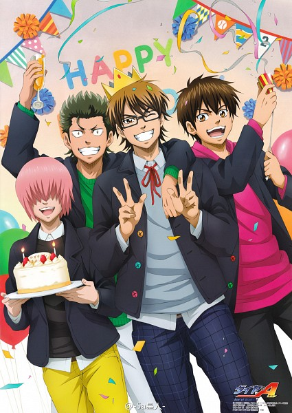 Tags: Anime, Production I.G., MADHOUSE, Diamond no Ace, Sawamura Eijun, Miyuki Kazuya, Kominato Haruichi, Kuramochi Youichi, Celebrate, Yellow Pants, Party, Official Art, Mobile Wallpaper, Ace Of Diamond