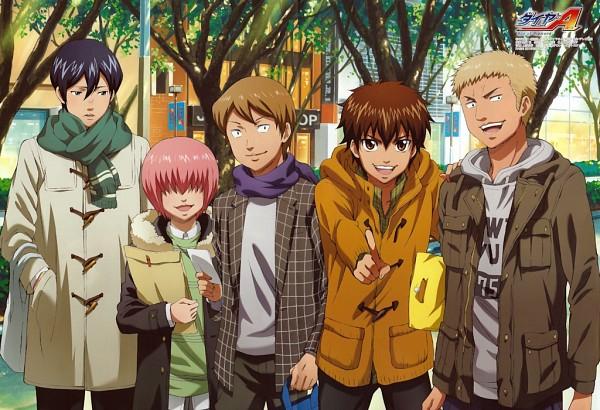 Tags: Anime, Diamond no Ace, Kominato Haruichi, Kanemaru Shinji, Toujou Hideaki, Furuya Satoru, Sawamura Eijun, Official Art, Ace Of Diamond