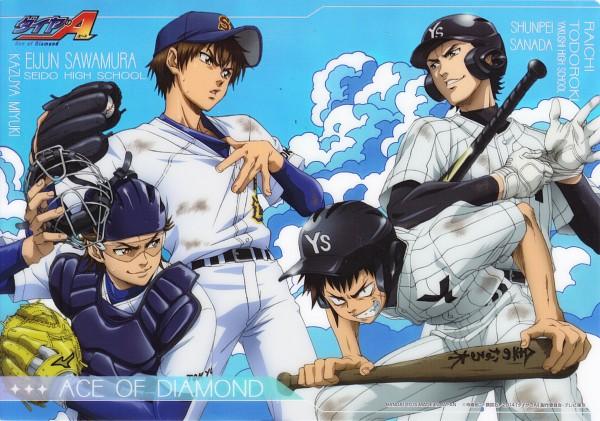 Tags: Anime, Diamond no Ace, Miyuki Kazuya, Todoroki Raichi, Sanada Shunpei, Sawamura Eijun, Official Art, Ace Of Diamond