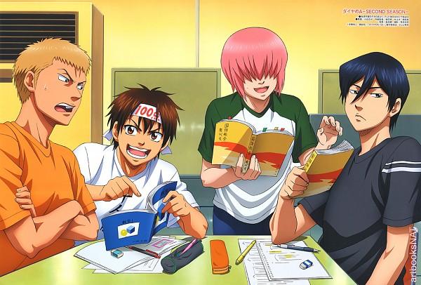 Tags: Anime, Diamond no Ace, Furuya Satoru, Sawamura Eijun, Kominato Haruichi, Kanemaru Shinji, Official Art, Ace Of Diamond
