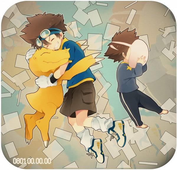 Tags: Anime, Ono (0 No), Digimon Adventure, Yagami Taichi, Koromon, Agumon, Dinosaur, Fanart, Pixiv
