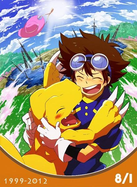 Tags: Anime, Pixiv Id 625061, Digimon Adventure, Agumon, Yagami Taichi, Dinosaur, Fanart, Pixiv