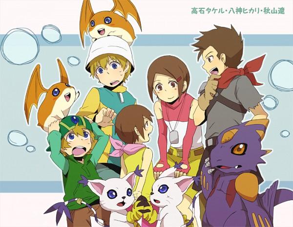 Tags: Anime, Pixiv Id 625061, Digimon Adventure, Takaishi Takeru, Akiyama Ryou, Patamon, Gatomon, Monodramon, Yagami Hikari, Pixiv