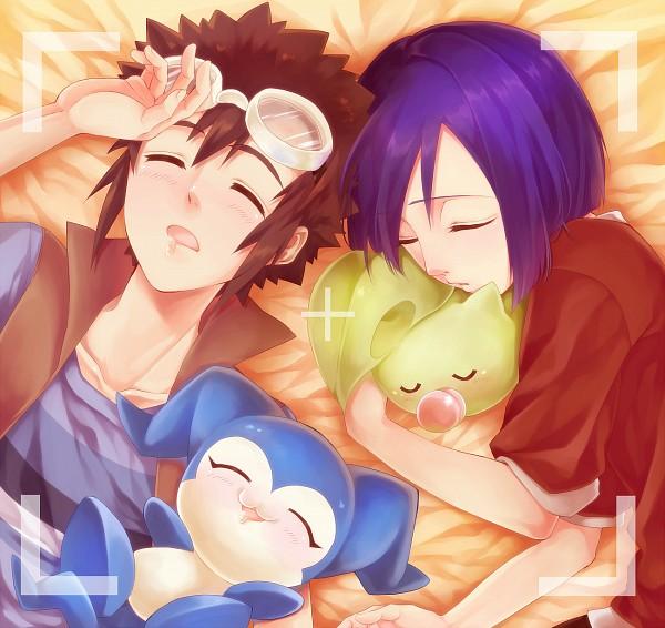 Tags: Anime, Gingerale, Digimon Adventure, Ichijouji Ken, Chibimon, Motomiya Daisuke, Leafmon, Fanart From Pixiv, Fanart, Pixiv