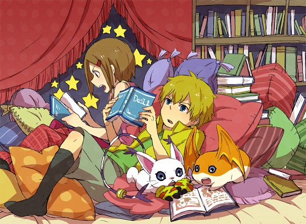 Tags: Anime, Pixiv Id 625061, Digimon Adventure, Takaishi Takeru, Patamon, Gatomon, Yagami Hikari, Pixiv, Fanart