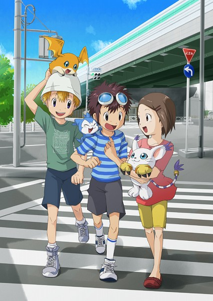 Tags: Anime, Pixiv Id 131555, Digimon Adventure, Motomiya Daisuke, Chibimon, Patamon, Gatomon, Yagami Hikari, Takaishi Takeru, Mobile Wallpaper