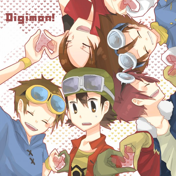 Tags: Anime, Pixiv Id 2417989, Digimon Tamers, Digimon Frontier, Digimon Adventure, Digimon Savers, Matsuda Takato, Kanbara Takuya, Yagami Taichi, Daimon Masaru, Motomiya Daisuke, Heart Gesture Duo, Traditional Media