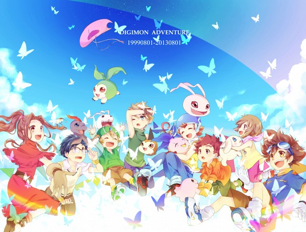 Tags: Anime, Pixiv Id 2036400, Digimon Adventure, Mochimon, Takaishi Takeru, Izumi Koushirou, Plotmon, Ishida Yamato, Koromon, Tachikawa Mimi, Pukamon, Takenouchi Sora, Tanemon