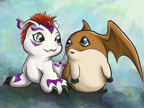 Tags: Anime, Damphyr, Digimon Adventure, Patamon, Gomamon, Wallpaper