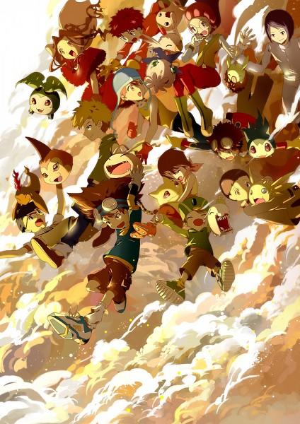 Tags: Anime, Winni (Pixiv8251400), Digimon Adventure, Tanemon, Tokomon, Pukamon, Kido Jyou, Tachikawa Mimi, Motomiya Daisuke, Pyocomon, Nyaromon, Tunomon, Chibimon