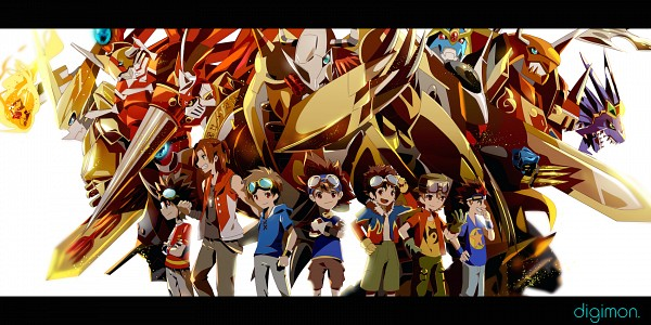 Tags: Anime, Winni (Pixiv8251400), Digimon Frontier, Digimon Tamers, Digimon Adventure, Digimon Savers, Digimon Xros Wars, Motomiya Daisuke, ExVeemon, Akashi Tagiru, Kanbara Takuya, WarGreymon, Matsuda Takato