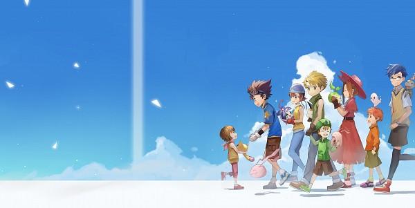 Tags: Anime, Pixiv Id 901287, Digimon Adventure, Kido Jyou, Pyocomon, Nyaromon, Yagami Hikari, Tunomon, Yagami Taichi, Mochimon, Takaishi Takeru, Izumi Koushirou, Tachikawa Mimi